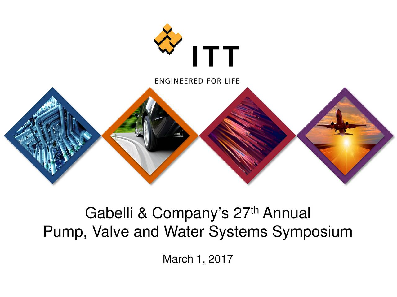 Pump, Valve and Water Systems Symposium March 1, 2017