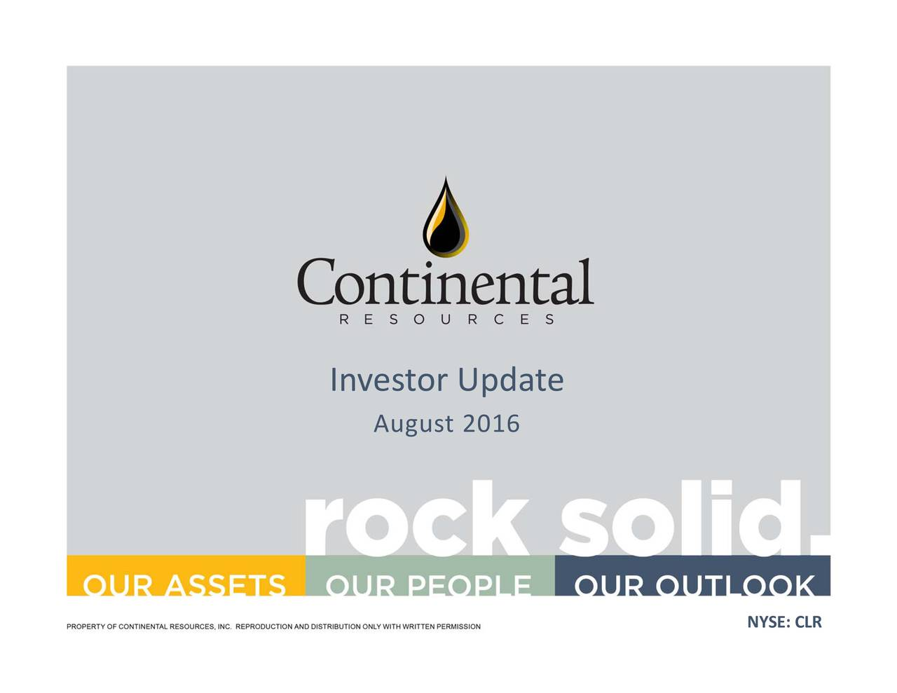 NYSE: Updae16 August Investor
