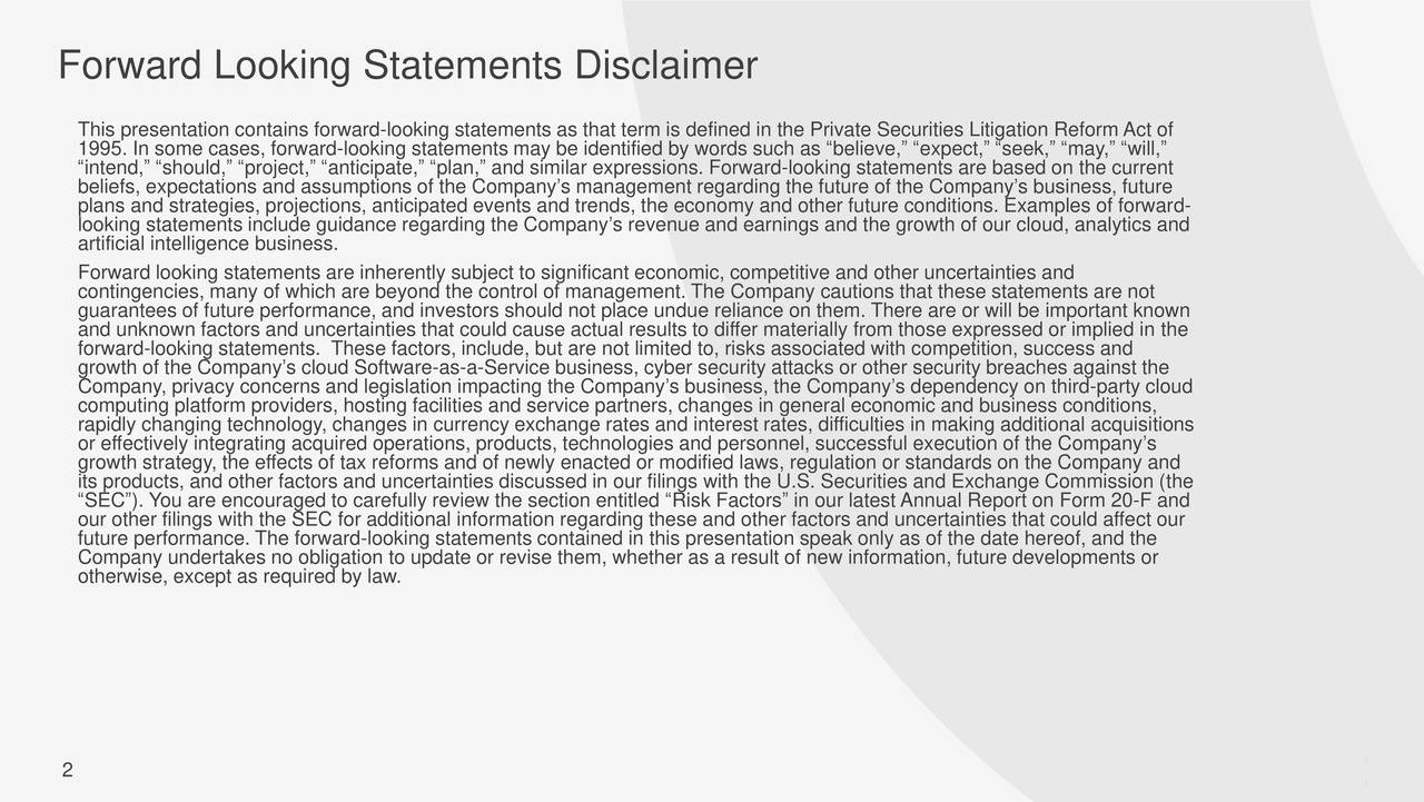 Forward Looking Statements Disclaimer
