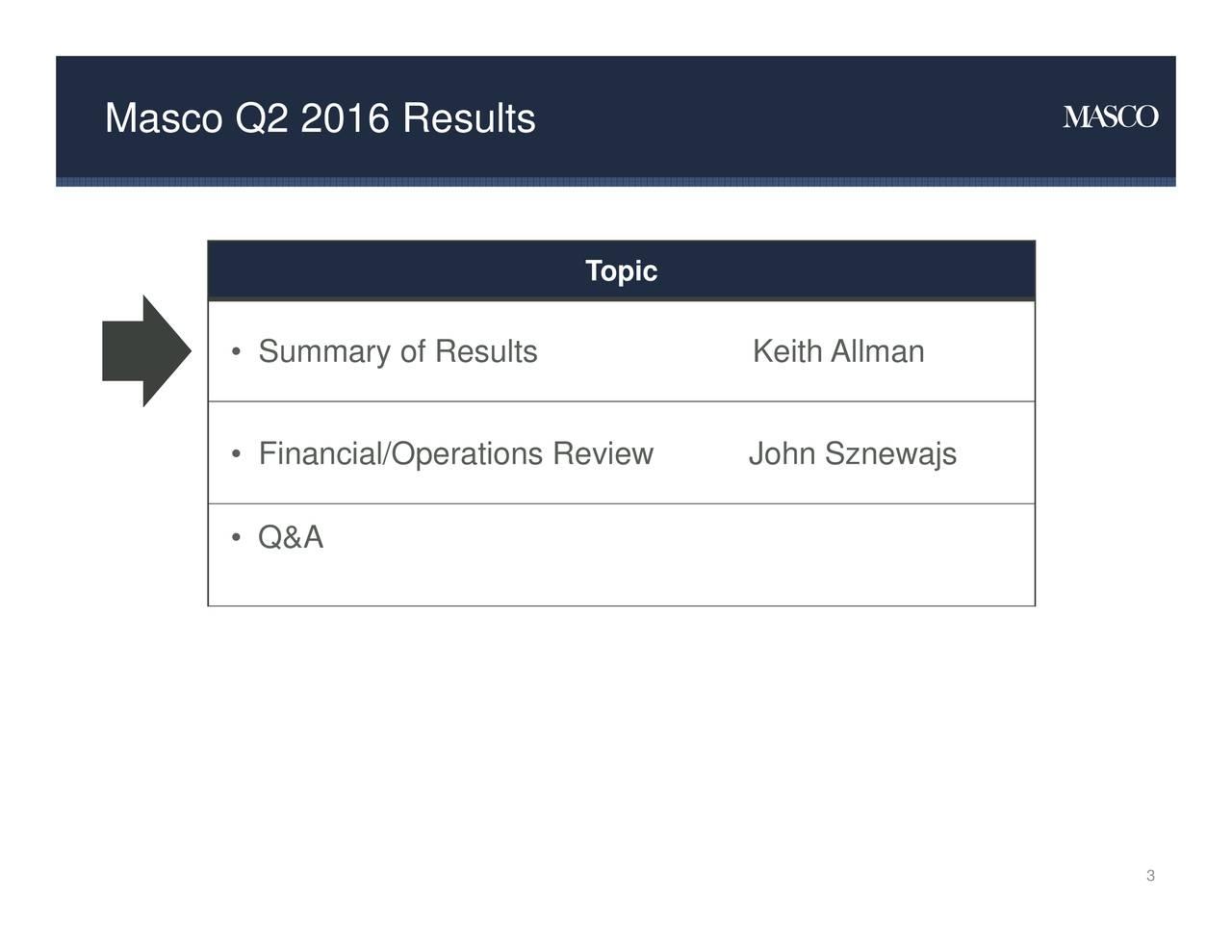 Topic Summary ofAesultsperations RevKeith Allmanznewajs Masco Q2 2016 Results