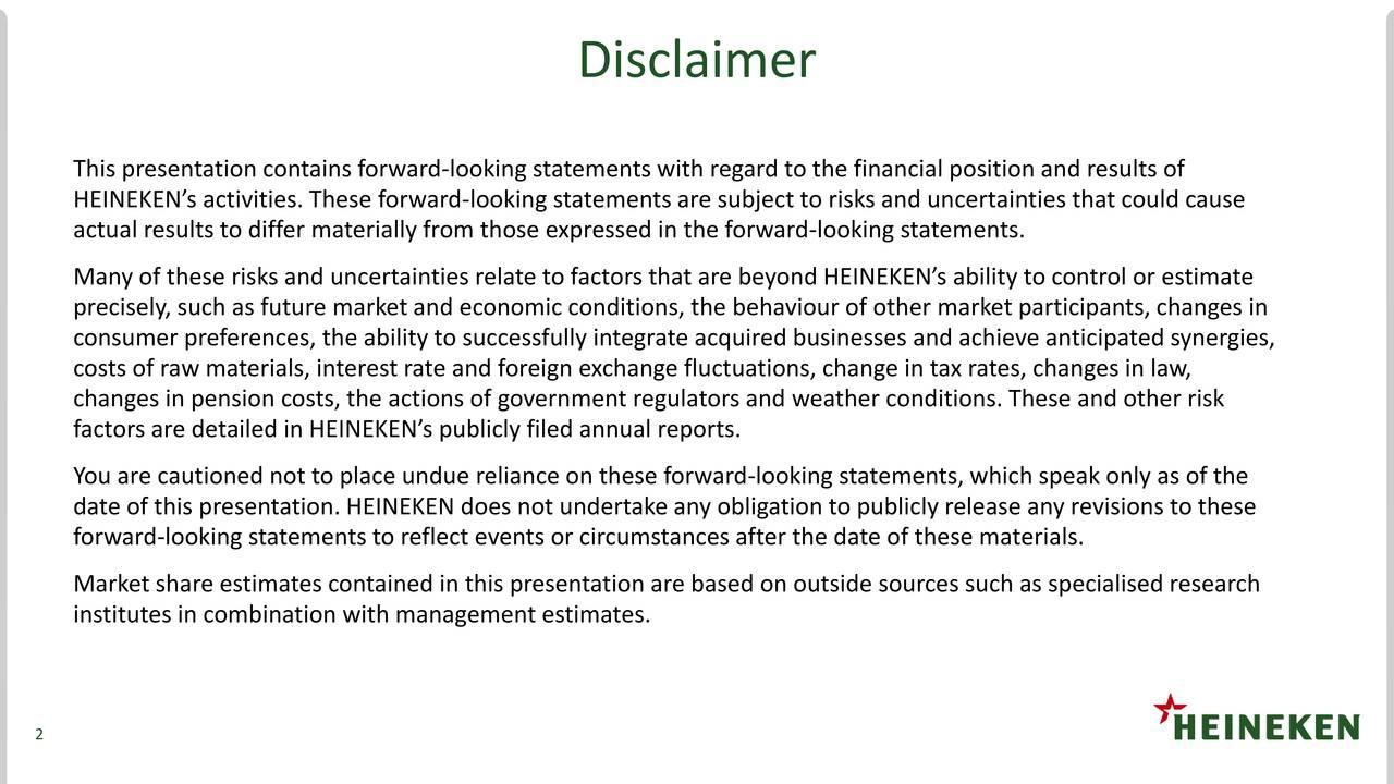 Earnings Disclaimer >> Heineken N.V. ADR 2017 Q4 - Results - Earnings Call Slides - Heineken N.V. (OTCMKTS:HEINY ...