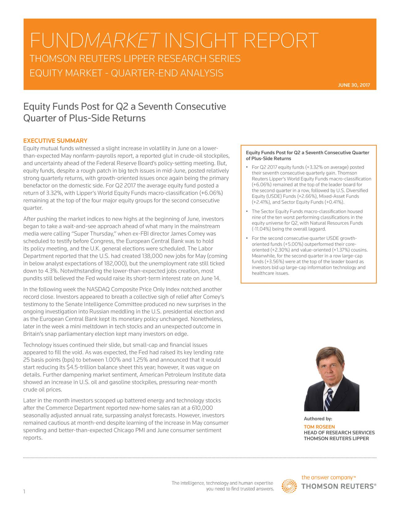 Equity Funds Post For Q2 A Seventh Consecutive Quarter Of ...