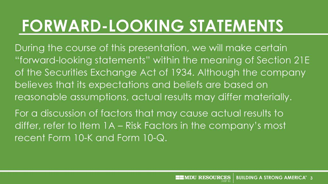 During the course of this presentation, we will make certain forward-looking statements within the meaning of Section 21E of the Securities Exchange Act of 1934. Although the company believes that its expectations and beliefs are based on reasonable assumptions, actual results may differ materially. For a discussion of factors that may cause actual results to differ, refer to Item 1A  Risk Factors in the companys most recent Form 10-K and Form 10-Q. BUILDING A STRONG3AMERICA