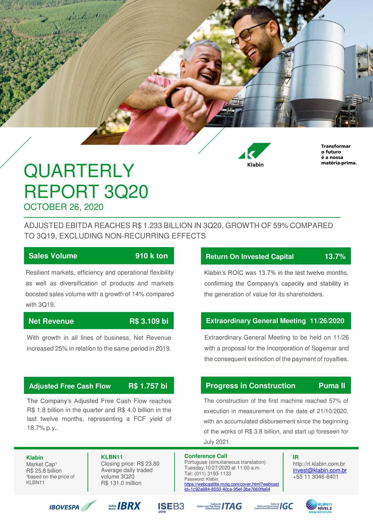 Klabin S.A. 2020 Q3 - Results - Earnings Call Presentation (OTCMKTS:KLBAY)