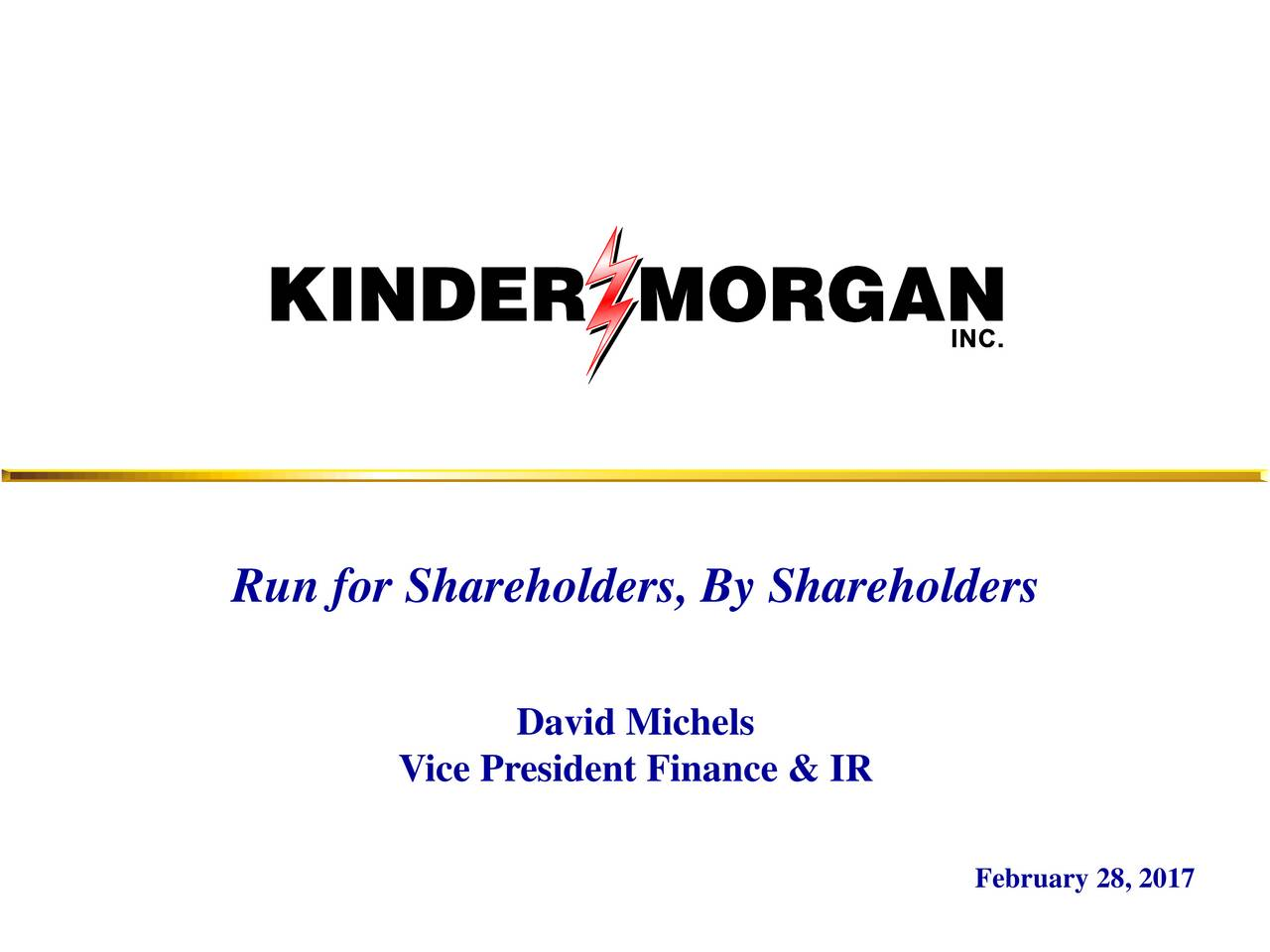 David Michels Vice President Finance & IR February 28, 2017