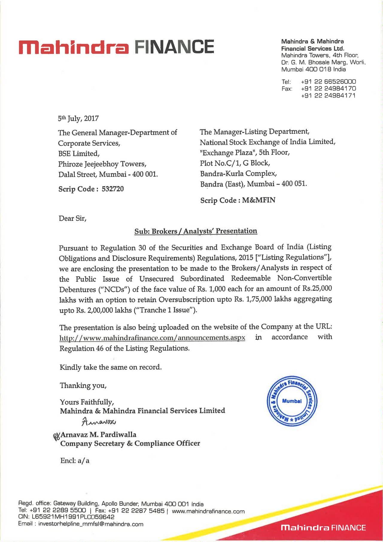 Mahindra Amp Mahindra Financial Services Mhzny Investor