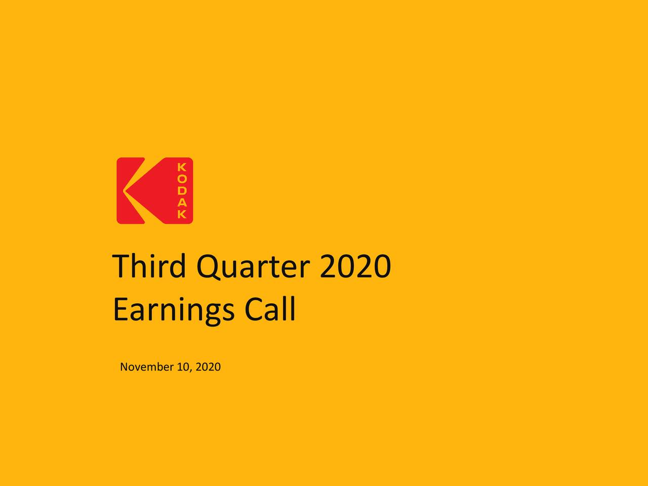 Eastman Kodak Company 2020 Q3 Results Earnings Call Presentation Nyse Kodk Seeking Alpha