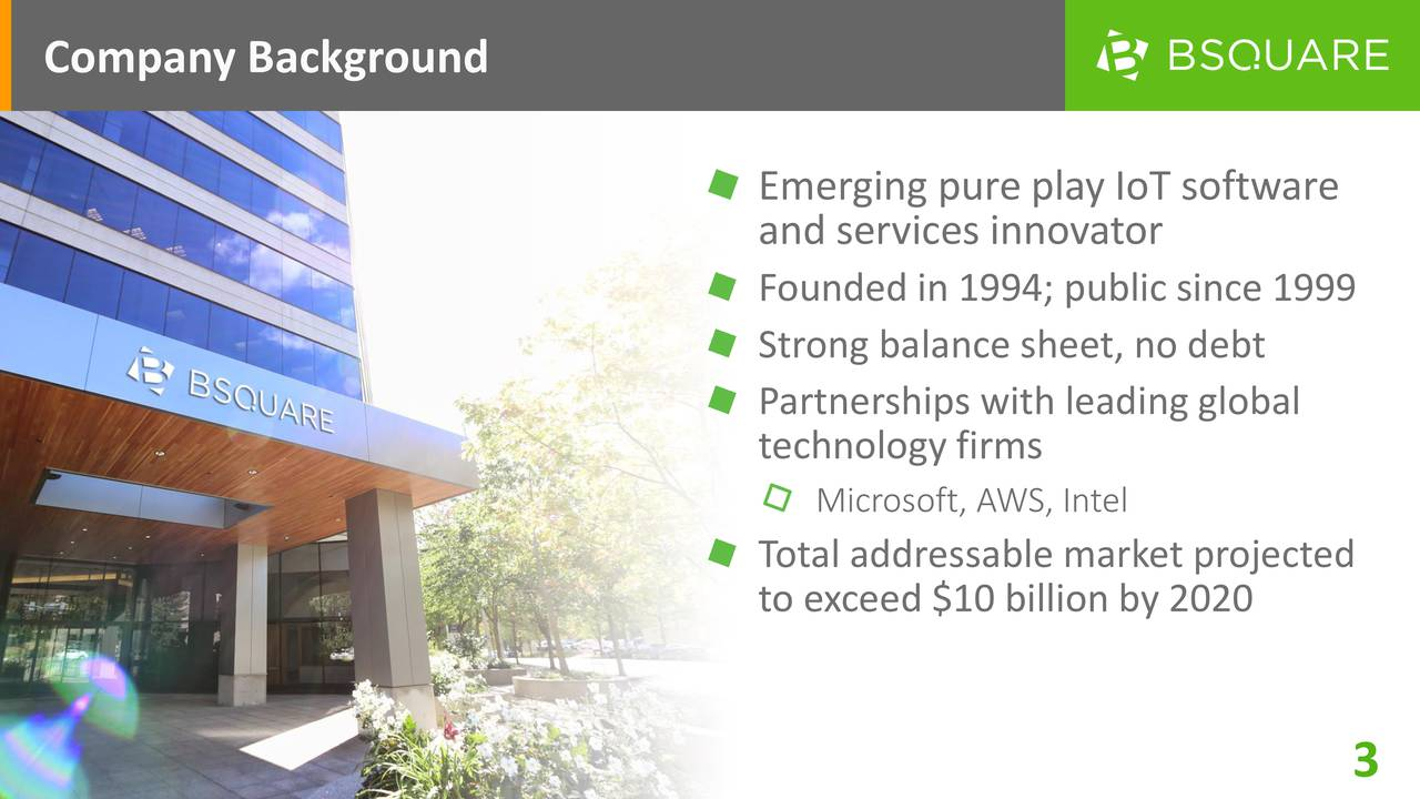 Emerging pure play IoT software and services innovator Founded in 1994; public since 1999 Strong balance sheet, no debt Partnerships with leading global technology firms Microsoft, AWS, Intel Total addressable market projected to exceed $10 billion by 2020 3