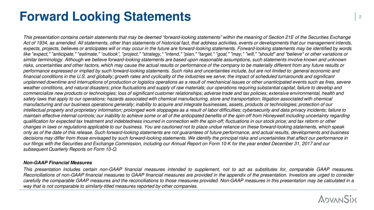"""This presentation contains certain statements that may be deemed """"forward-looking statements"""" within the meaning of Section 21Eof the Securities Exchange Act of 1934, as amended. All statements, other than statements of historical fact, that address activities, events or developments that our management intends, expects, projects, believes or anticipates will or may occur in the future are forward-looking statements. Forward-looking statements may be identified by words like """"expect,"""" """"anticipate,"""" """"estimate,"""" """"outlook"""", """"project,"""" """"strategy,"""" """"intend,"""" """"plan,"""" """"target,"""" """"goal,"""" """"may,"""" """"will,"""" """"should"""" and """"believe"""" or other variations or similar terminology. Although we believe forward-looking statements are based upon reasonable assumptions, such statements involve known and unknown risks, uncertainties and other factors, which may cause the actual results or performance of the company to be materially different from any future results or performance expressed or implied by such forward-looking statements. Such risks and uncertainties include, but are not limited to: general economic and financial conditions in the U.S. and globally; growth rates and cyclicality of the industries we serve; the impact of scheduled turnarounds and significant unplanned downtime and interruptions of production or logistics operations as a result of mechanical issues or other unanticipated events such as fires, severe weather conditions, and natural disasters; price fluctuations and supply of raw materials; our operations requiring substantial capital; failure to develop and commercialize new products or technologies; loss of significant customer relationships; adverse trade and tax policies; extensiv e environmental, health and safety laws that apply to our operations; hazards associated with chemical manufacturing, store and transportation; litigation associated with chemical manufacturing and our business operations generally; inability to acquire and integrate businesses, assets, """