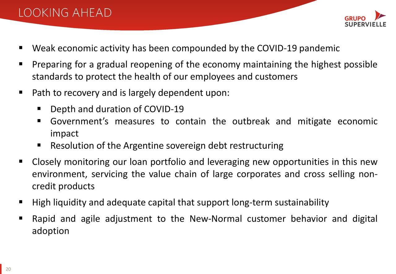▪ La débil actividad económica se ha visto agravada por la pandemia de COVID-19