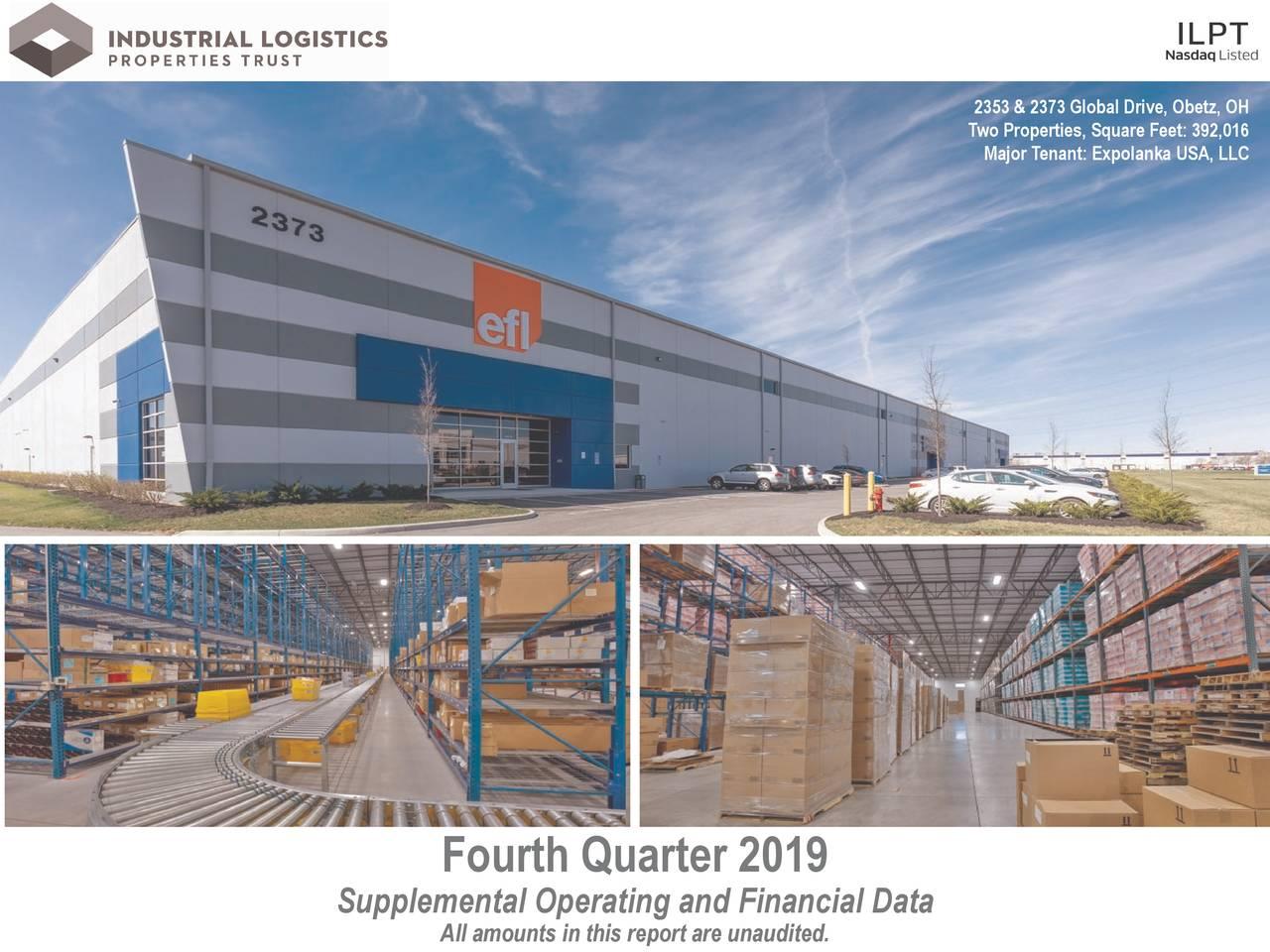 Industrial Logistics Properties Trust 2019 Q4 - Results - Earnings Call Presentation - Industrial Logistics Properties Trust (NASDAQ:ILPT) | Seeking Alpha