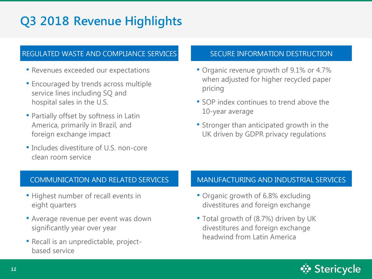 Stericycle, Inc  2018 Q3 - Results - Earnings Call Slides