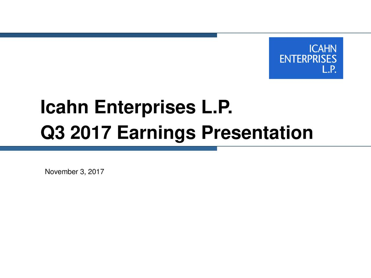 Q3 2017 Earnings Presentation November 3, 2017