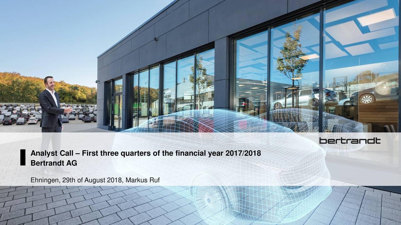 Earnings Disclaimer >> Bertrandt AG 2018 Q3 - Results - Earnings Call Slides - Bertrandt Aktiengesellschaft (OTCMKTS ...
