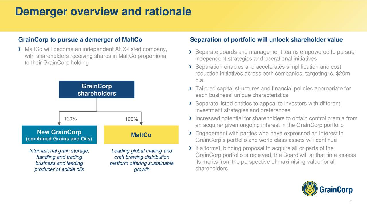 GrainCorp to pursue a demerger of MaltCo Separation of portfolio will unlock shareholder value › MaltCo will become an independent ASX-listed company, › Separate boards and management teams empowered to pursue with shareholders receiving shares in MaltCo proportional independent strategies and operational initiatives to their GrainCorp holding › Separation enables and accelerates simplification and cost reduction initiatives across both companies, targeting: c. $20m p.a. GrainCorp › Tailored capital structures and financial policies appropriate for shareholders each business' unique characteristics › Separate listed entities to appeal to investors with different investment strategies and preferences 100% › Increased potential for shareholders to obtain control premia from 100% an acquirer given ongoing interest in the GrainCorp portfolio New GrainCorp MaltCo › Engagement with parties who have expressed an interest in (combined Grains and Oils) GrainCorp's portfolio and world class assets will continue International grain storage, Leading global malting and › If a formal, binding proposal to acquire all or parts of the handling and trading craft brewing distribution GrainCorp portfolio is received, the Board will at that time assess business and leading platform offering sustainable its merits from the perspective of maximising value for all producer of edible oils growth shareholders 3