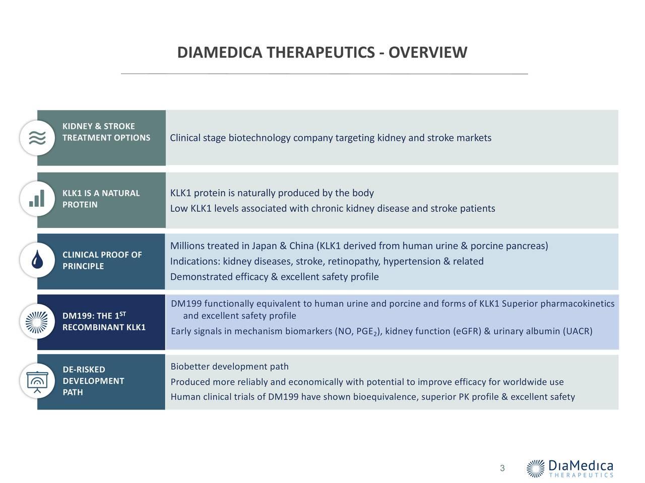 DIAMEDICA THERAPEUTICS - OVERVIEW