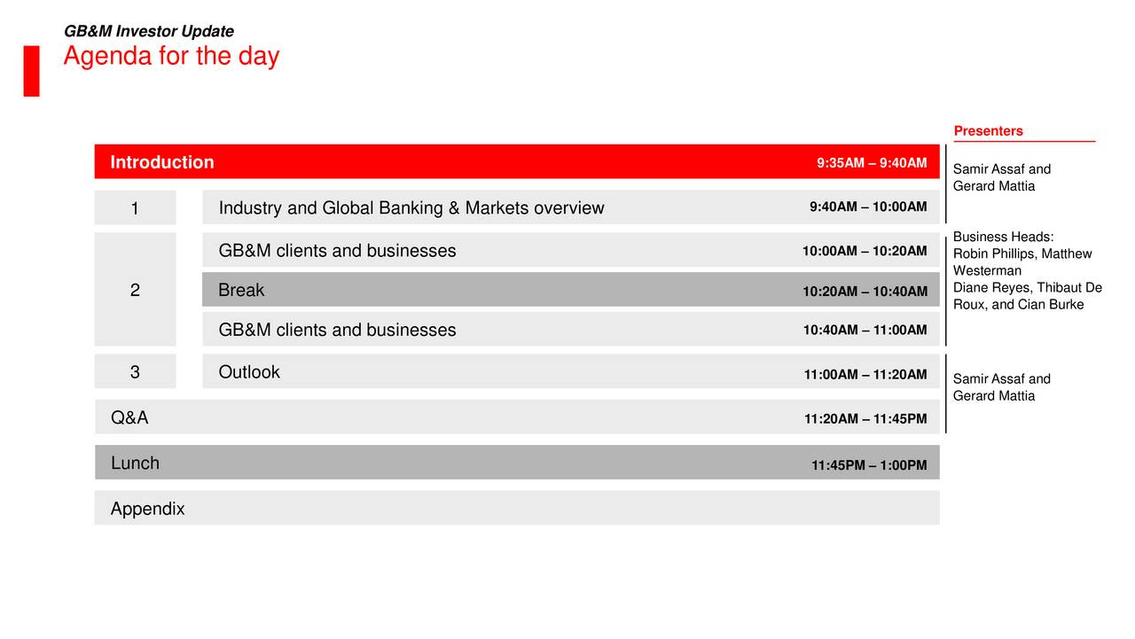 Agenda for the day Presenters Introduction 9:35AM  9:40AM Samir Assaf and Gerard Mattia 1 Industry and Global Banking & Markets overview 9:40AM  10:00AM Business Heads: GB&M clients and businesses 10:00AM  10:20AM Robin Phillips, Matthew Westerman 2 Break 10:20AM  10:40AM Diane Reyes, Thibaut De Roux, and Cian Burke GB&M clients and businesses 10:40AM  11:00AM 3 Outlook 11:00AM  11:20AM Samir Assaf and Gerard Mattia Q&A 11:20AM  11:45PM Lunch 11:45PM  1:00PM Appendix