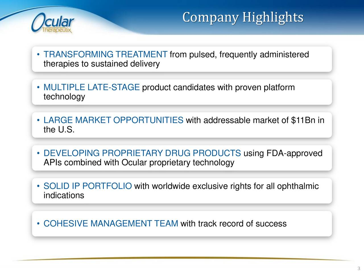 TRANSFORMING TREATMENT from pulsed, frequently administered therapies to sustained delivery MULTIPLE LATE-STAGE product candidates with proven platform technology LARGE MARKET OPPORTUNITIES with addressable market of $11Bn in the U.S. DEVELOPING PROPRIETARY DRUG PRODUCTS using FDA-approved APIs combined with Ocular proprietary technology SOLID IP PORTFOLIO with worldwide exclusive rights for all ophthalmic indications COHESIVE MANAGEMENT TEAM with track record of success