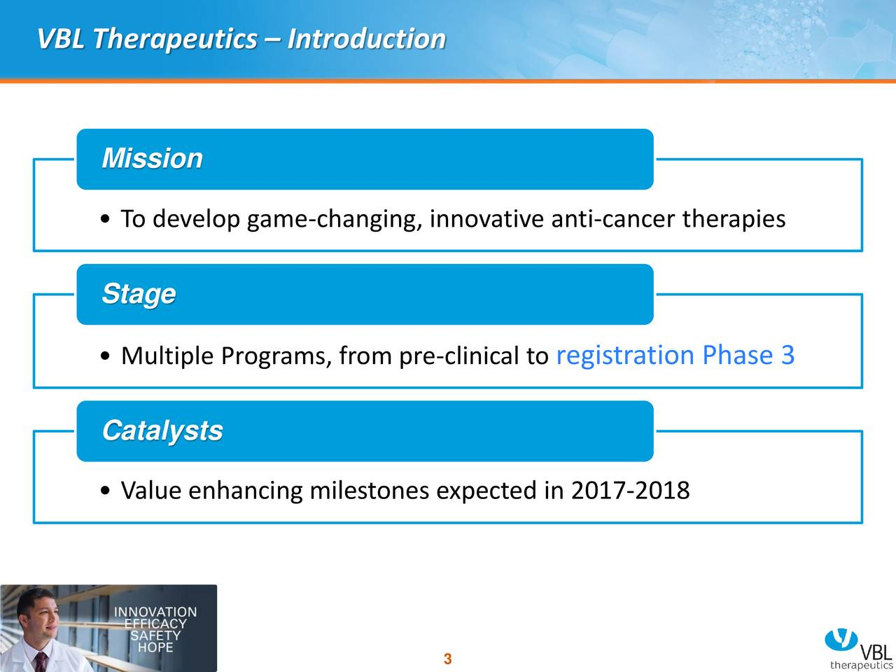 Mission To develop game-changing, innovative anti-cancer therapies Stage Multiple Programs, from pre-clinical registration Phase 3 Catalysts Value enhancing milestones expected in 2017-2018