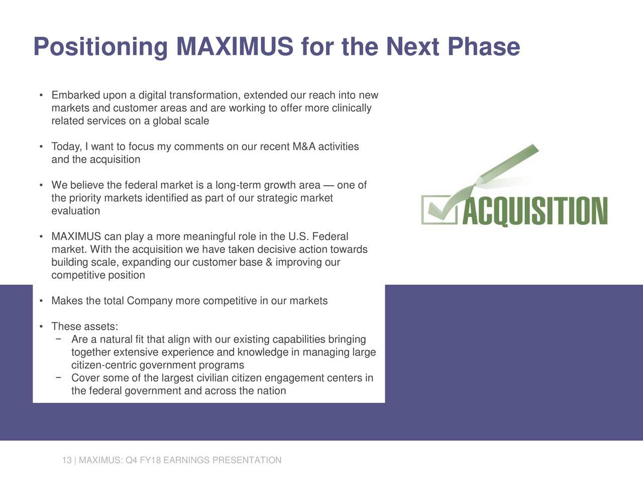 MAXIMUS, Inc. 2018 Q4 - Results