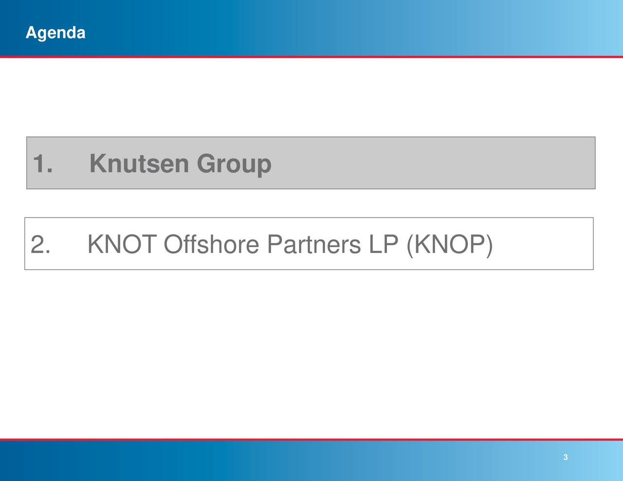 1. Knutsen Group 2. KNOT Offshore Partners LP (KNOP) 3