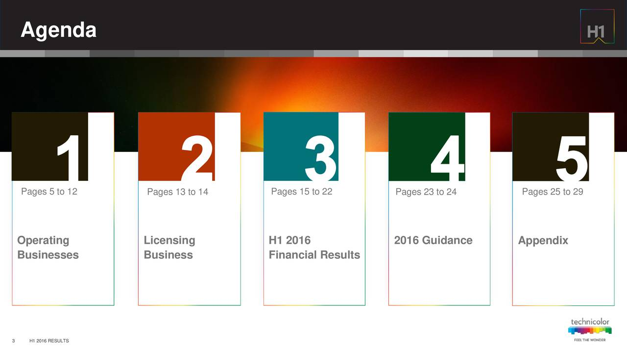 Pages 5 to 12 Pages 13 to 14 Pages 15 to 22 Pages 23 to 24 Pages 25 to 29 Operating Licensing H1 2016 2016 Guidance Appendix Businesses Business Financial Results 3 H1 2016 RESULTS