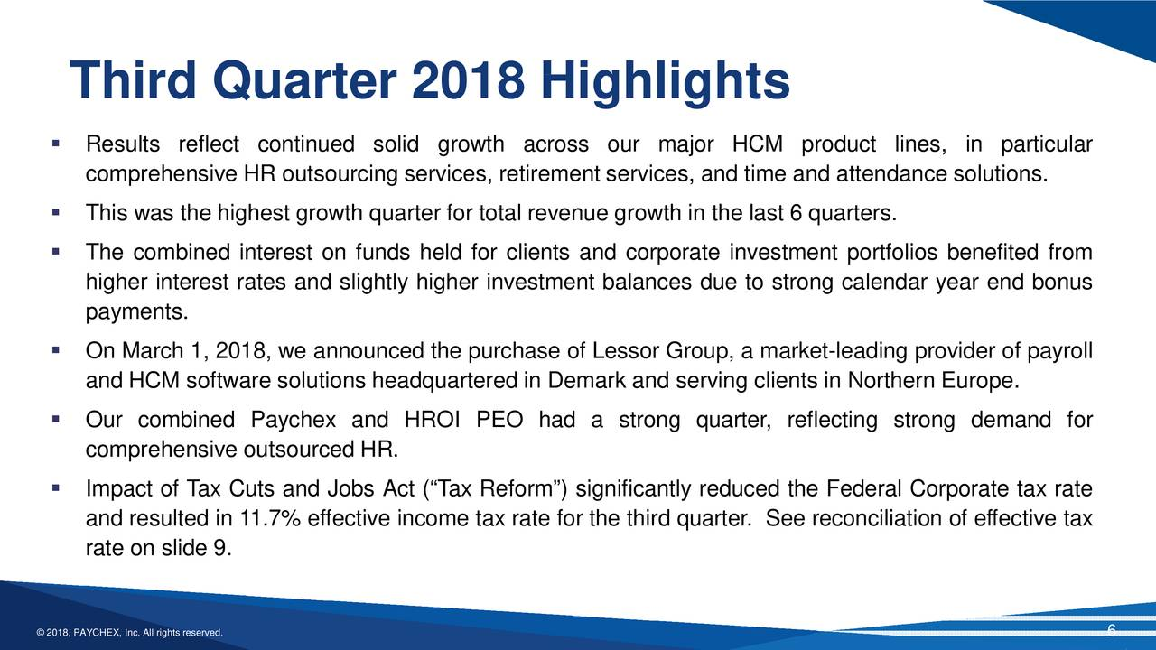 Paychex, Inc. 2018 Q3 - Results - Earnings Call Slides ...