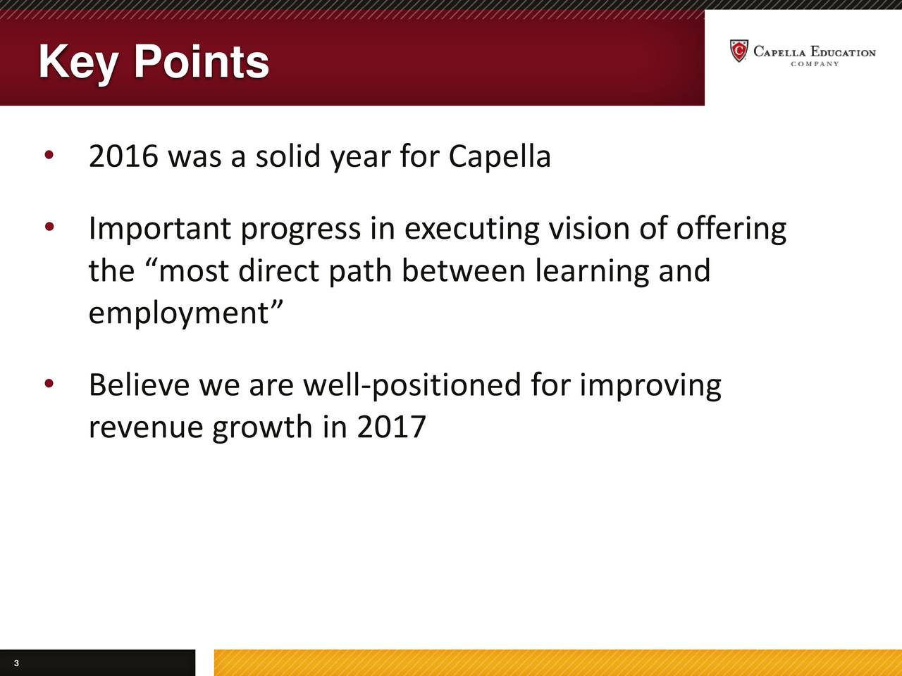 2016 was a solid year for Capella Important progress in executing vision of offering the most direct path between learning and employment Believe we are well-positioned for improving revenue growth in 2017