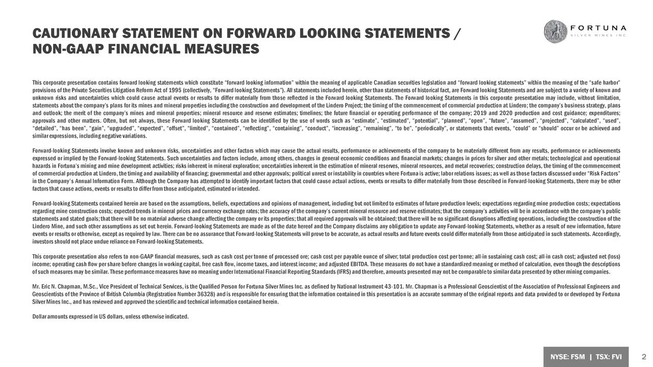 CAUTIONARY STATEMENT ON FORWARD LOOKING STATEMENTS /