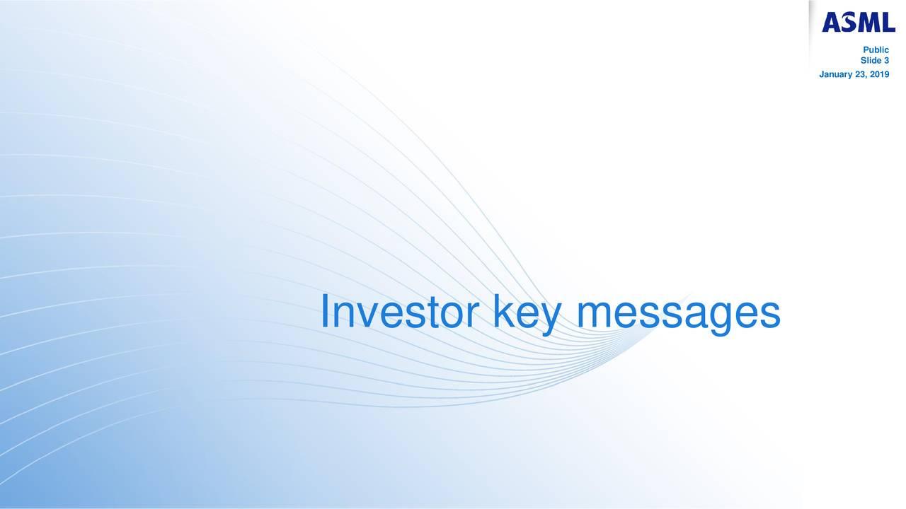 Slide 3 January 23, 2019 Investor key messages