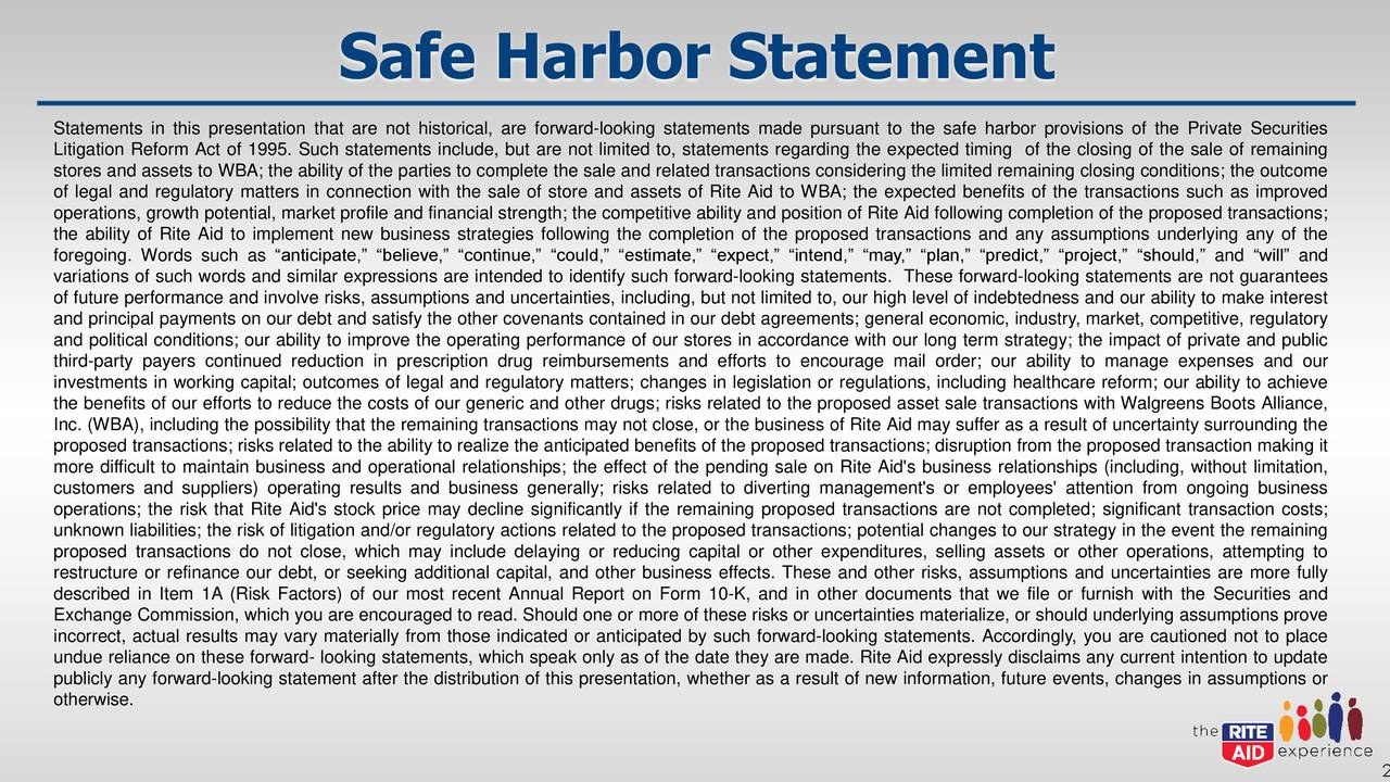 "Statements in this presentation that are not historical, are forward-looking statements made pursuant to the safe harbor provisions of the Private Securities Litigation Reform Act of 1995. Such statements include, but are not limited to, statements regarding the expected timing of the closing of the sale of remaining stores and assets to WBA; the ability of the parties to complete the sale and related transactions considering the limited remaining closing conditions; the outcome of legal and regulatory matters in connection with the sale of store and assets of Rite Aid to WBA; the expected benefits of the transactions such as improved operations, growth potential, market profile and financial strength; the competitive ability and position of Rite Aid following completion of the proposed transactions; the ability of Rite Aid to implement new business strategies following the completion of the proposed transactions and any assumptions underlying any of the foregoing. Words such as ""anticipate,"" ""believe,"" ""continue,"" ""could,"" ""estimate,"" ""expect,"" ""intend,"" ""may,"" ""plan,"" ""predict,"" ""project,"" ""should,"" and ""will"" and variations of such words and similar expressions are intended to identify such forward-looking statements. These forward-looking statements are not guarantees of future performance and involve risks, assumptions and uncertainties, including, but not limited to, our high level of indebtedness and our ability to make interest and principal payments on our debt and satisfy the other covenants contained in our debt agreements; general economic, industry, market, competitive, regulatory and political conditions; our ability to improve the operating performance of our stores in accordance with our long term strategy; the impact of private and public third-party payers continued reduction in prescription drug reimbursements and efforts to encourage mail order; our ability to manage expenses and our investments in working capital; outcomes of legal and regulatory matters; changes in legislation or regulations, including healthcare reform; our ability to achieve the benefits of our efforts to reduce the costs of our generic and other drugs; risks related to the proposed asset sale transactions with Walgreens Boots Alliance, Inc. (WBA), including the possibility that the remaining transactions may not close, or the business of Rite Aid may suffer as a result of uncertainty surrounding the proposed transactions; risks related to the ability to realize the anticipated benefits of the proposed transactions; disruption from the proposed transaction making it more difficult to maintain business and operational relationships; the effect of the pending sale on Rite Aid's business relationships (including, without limitation, customers and suppliers) operating results and business generally; risks related to diverting management's or employees' attention from ongoing business operations; the risk that Rite Aid's stock price may decline significantly if the remaining proposed transactions are not completed; significant transaction costs; unknown liabilities; the risk of litigation and/or regulatory actions related to the proposed transactions; potential changes to our strategy in the event the remaining proposed transactions do not close, which may include delaying or reducing capital or other expenditures, selling assets or other operations, attempting to restructure or refinance our debt, or seeking additional capital, and other business effects. These and other risks, assumptions and uncertainties are more fully described in Item 1A (Risk Factors) of our most recent Annual Report on Form 10-K, and in other documents that we file or furnish with the Securities and Exchange Commission, which you are encouraged to read. Should one or more of these risks or uncertainties materialize, or should underlying assumptions prove incorrect, actual results may vary materially from those indicated or anticipated by such forward-looking statements. Accordingly, you are cautioned not to place undue reliance on these forward- looking statements, which speak only as of the date they are made. Rite Aid expressly disclaims any current intention to update publicly any forward-looking statement after the distribution of this presentation, whether as a result of new information, future events, changes in assumptions or otherwise."