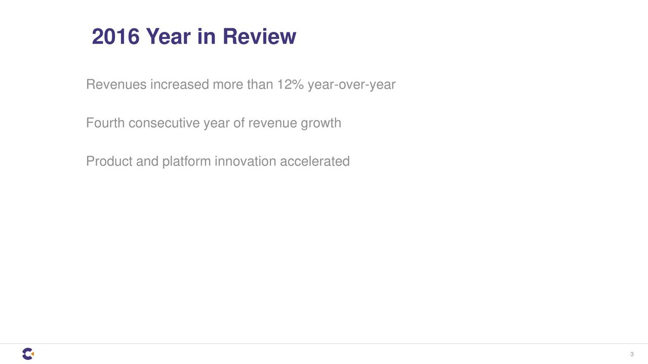 Revenues increased more than 12% year-over-year Fourth consecutive year of revenue growth Product and platform innovation accelerated 3
