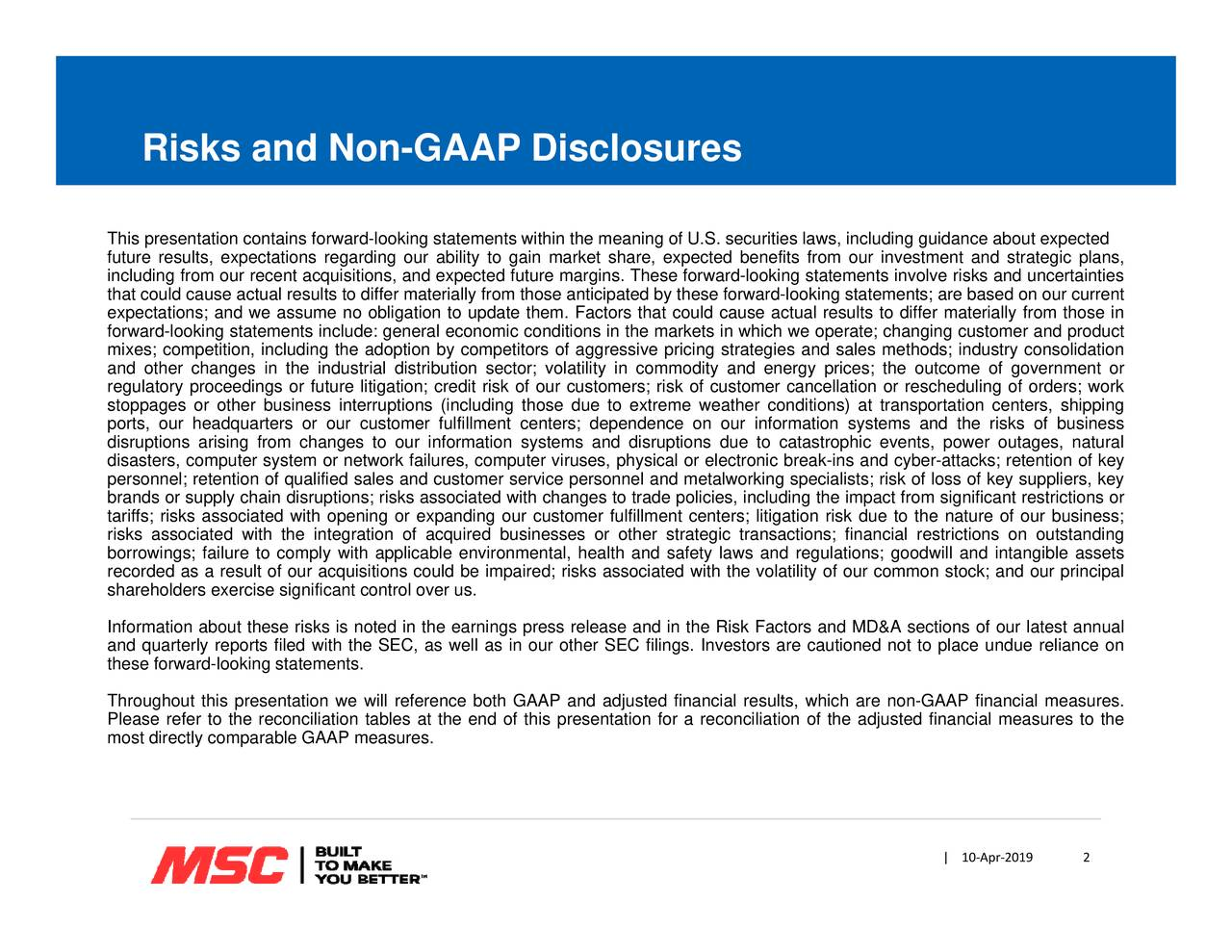 ‐019 ‐pr 10   physical or electronic break-ins and cyber-attacks; retention of key y in commodity and energy prices; the outcome of government or Risks and Non-GAAP Disclosures Thfstnrtudtnglrrieddlt;titooatitu,thcidct;berewgieiiaforwdldaotcsota;gnaeefolptoeetrvleliuftt,,-laceeletsatecotiomce
