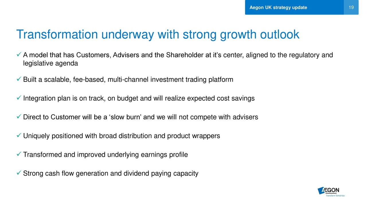 Aegon aed reports on uk strategy update slideshow for Multi generational product plan