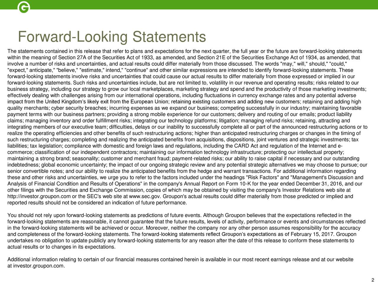 Groupon inc 2016 q4 results earnings call slides groupon february 2017 the statements contained in this release that refer to plans and expectations for the next quarter buycottarizona Image collections