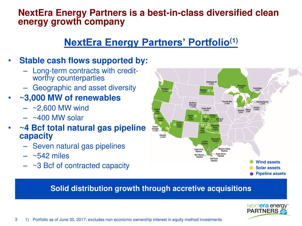 energy growth company (1) NextEra Energy Partners Portfolio Stable cash flows supported by: Long-term contracts with credit- worthy counterparties Geographic and asset diversity ~3,000 MW of renewables ~2,600 MW wind ~400 MW solar ~4 Bcf total natural gas pipeline capacity Seven natural gas pipelines ~542 miles ~3 Bcf of contracted capacity  Solar assets Pipeline assets Solid distribution growth through accretive acquisitions 3 1)Portfolio as of June 30, 2017; excludes non-economic ownership interest in equity method investments