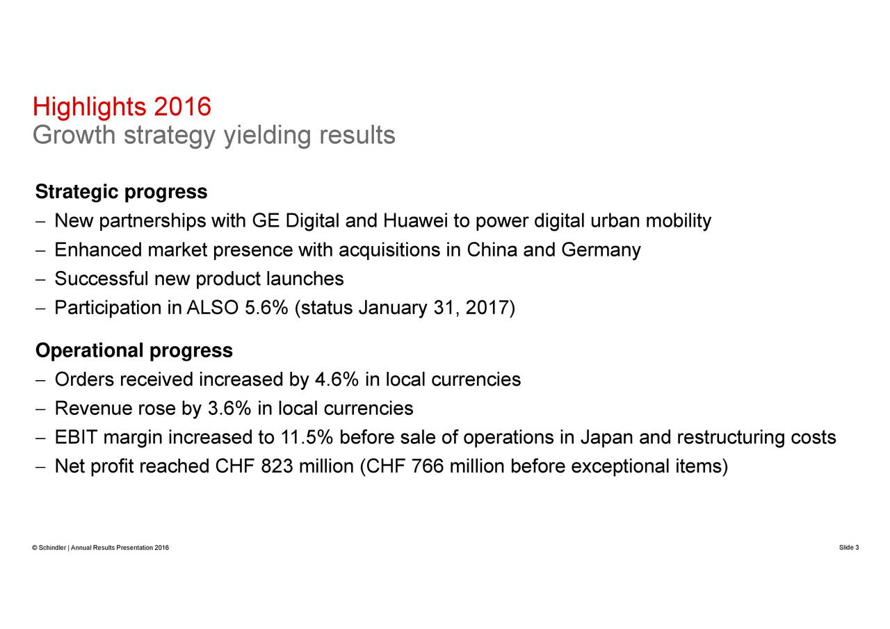operations in Japan and restructuring costs 766 million before exceptional items) NewEphatccestialnetpGeoeLigial6nchHsaiueinsnnaryena,2talion (CHF HigGhrighthss20r16egy yielding resultsprogress Schindler | Annual Results Presentation 2016