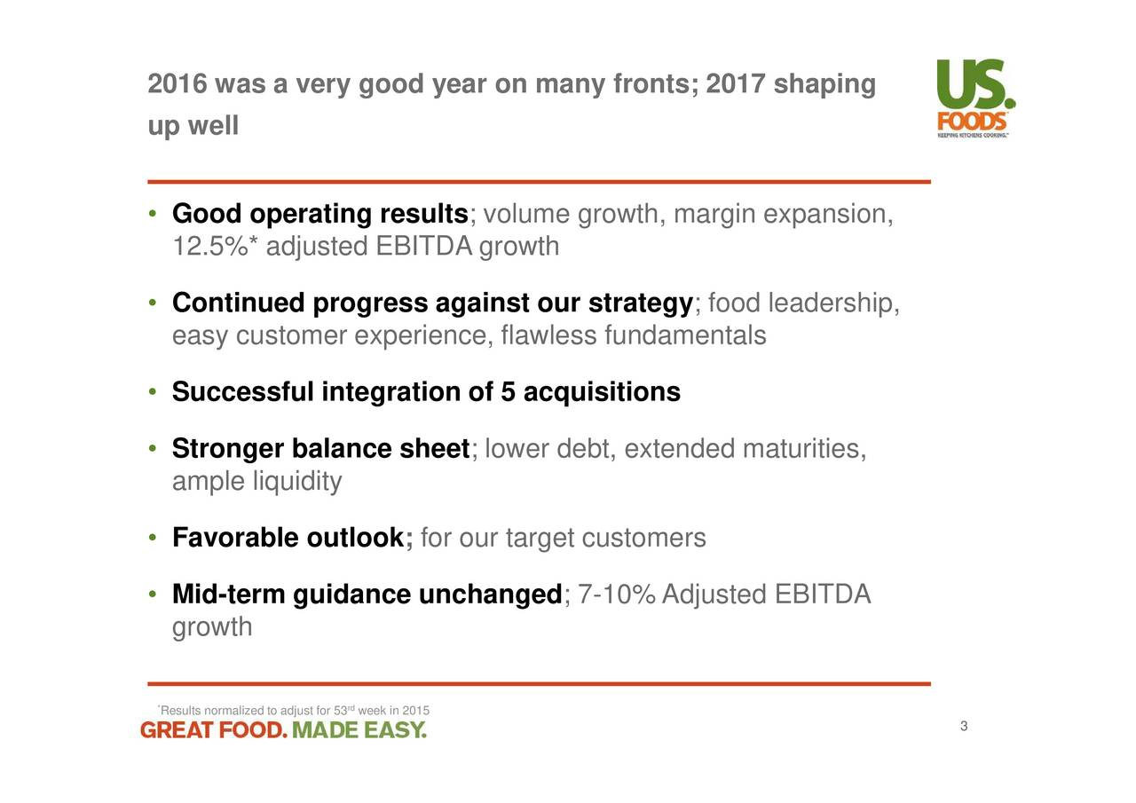 US Foods Holding 2016 Q4 - Results - Earnings Call Slides
