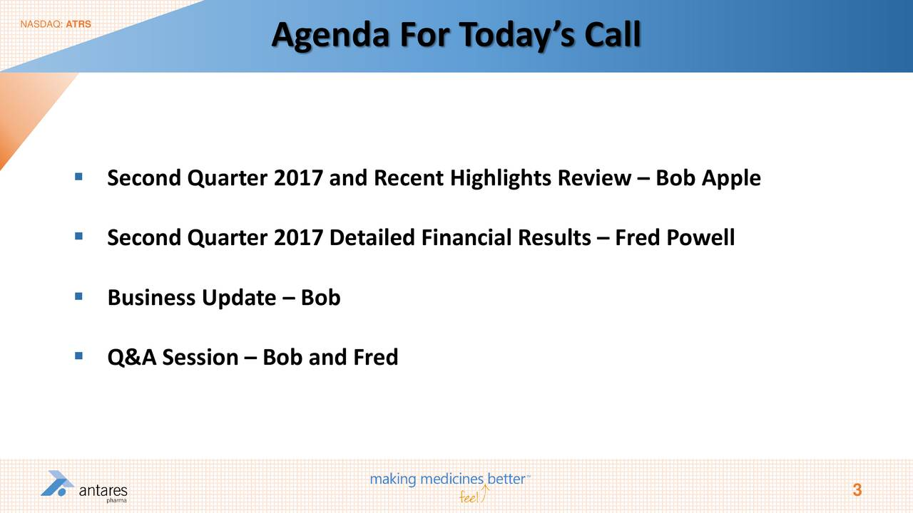 Agenda For T odays Call Second Quarter 2017 and Recent Highlights Review  Bob Apple Second Quarter 2017 Detailed Financial Results  Fred Powell Business Update  Bob Q&A Session  Bob and Fred 3