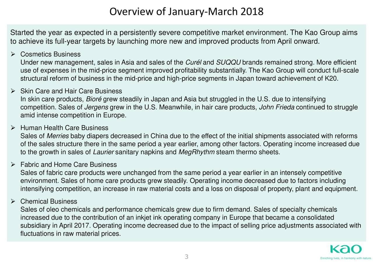 Kao Corp  ADR 2018 Q1 - Results - Earnings Call Slides - Kao