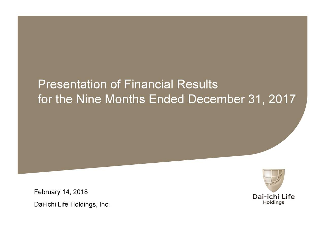Presentation of Financial Results