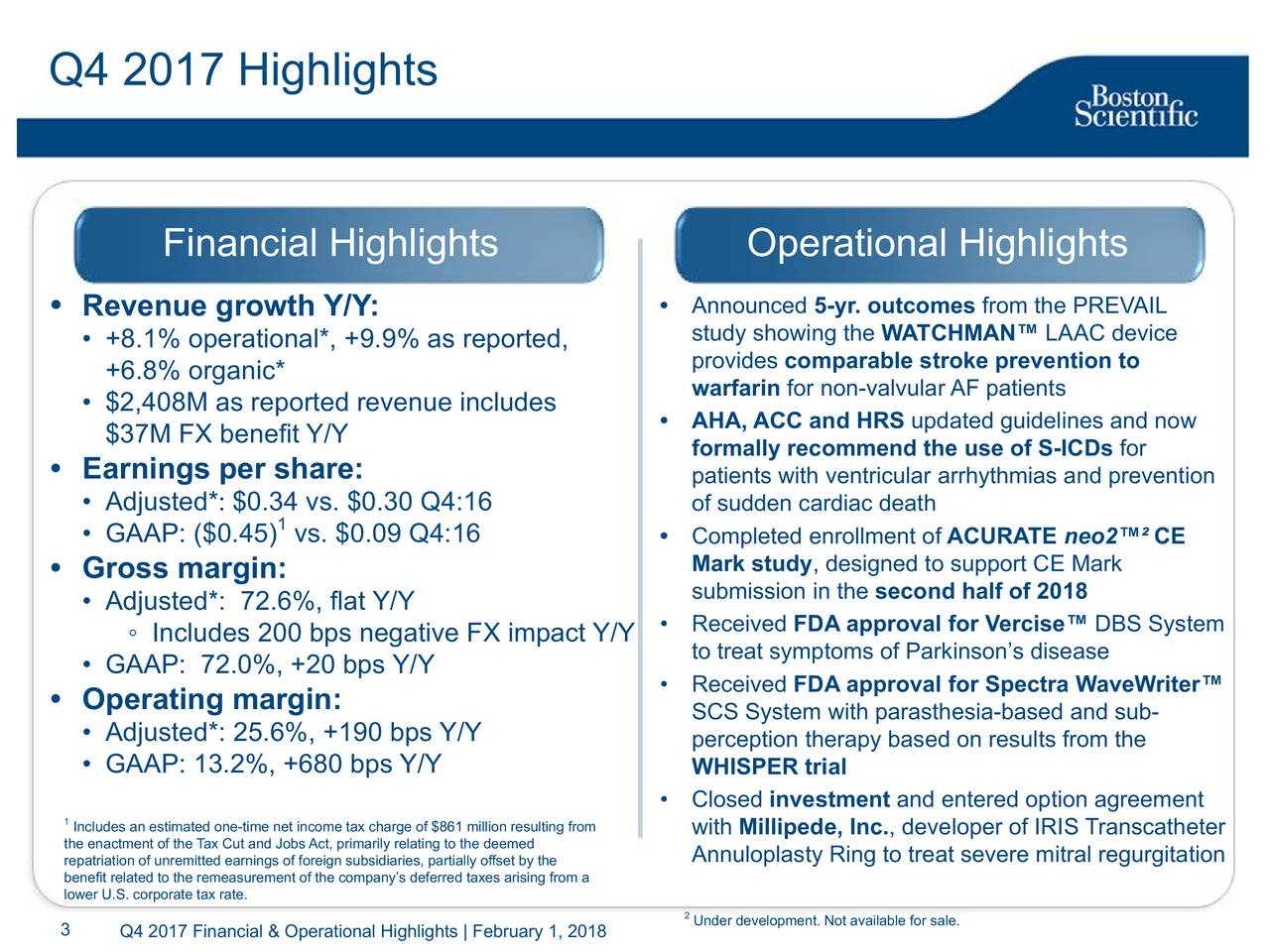 Financial Highlights Operational Highlights • Revenue growth Y/Y: • Announced 5-yr. outcomes from the PREVAIL study showing the WATCHMAN™ LAAC device • +8.1% operational*, +9.9% as reported, provides comparable stroke prevention to +6.8% organic* • $2,408M as reported revenue includes warfarin for non-valvular AF patients • AHA, ACC and HRS updated guidelines and now $37M FX benefit Y/Y formally recommend the use of S-ICDs for • Earnings per share: patients with ventricular arrhythmias and prevention • Adjusted* : $0.34 vs. $0.30 Q4:16 of sudden cardiac death 1 • GAAP: ($0.45) vs. $0.09 Q4:16 • Completed enrollment of ACURATE neo2™² CE • Gross margin: Mark study, designed to support CE Mark submission in the second half of 2018 • Adjusted*: 72.6%, flat Y/Y ◦ Includes 200 bps negative FX impact Y/Y • Received FDA approval for Vercise™ DBS System • GAAP: 72.0%, +20 bps Y/Y to treat symptoms of Parkinson's disease • Received FDA approval for Spectra WaveWriter™ • Operating margin: SCS System with parasthesia-based and sub- • Adjusted*: 25.6%, +190 bps Y/Y perception therapy based on results from the • GAAP: 13.2%, +680 bps Y/Y WHISPER trial • Closed investment and entered option agreement 1Includes an estimated one-time net income tax charge of $861with Millipede, Inc., developer of IRIS Transcatheter repatriation of unremitted earnings of foreign subsidiaries, partially offset by theeat severe mitral regurgitation benefit related to the remeasurement of the company's deferred taxes arising from a lower U.S. corporate tax rate. 3 Q4 2017 Financial & Operational Highlights | February 1, 2018development. Not available for sale.