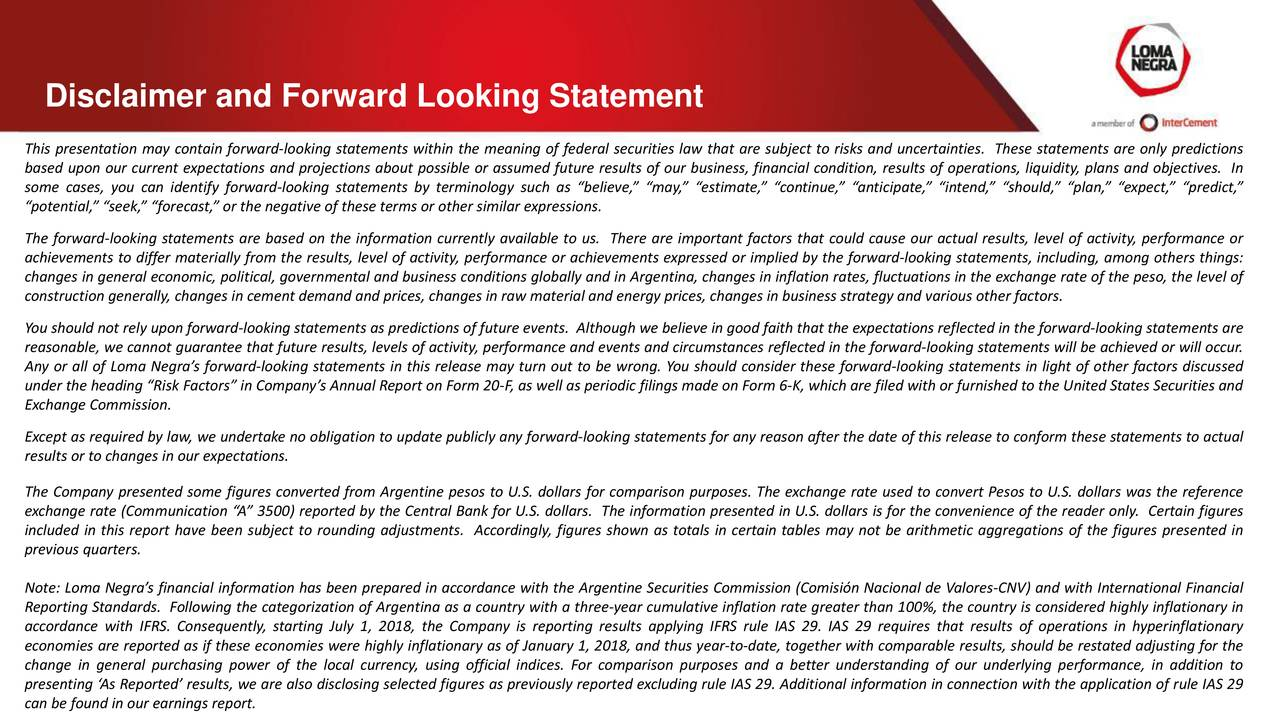 Disclaimer and Forward Looking Statement