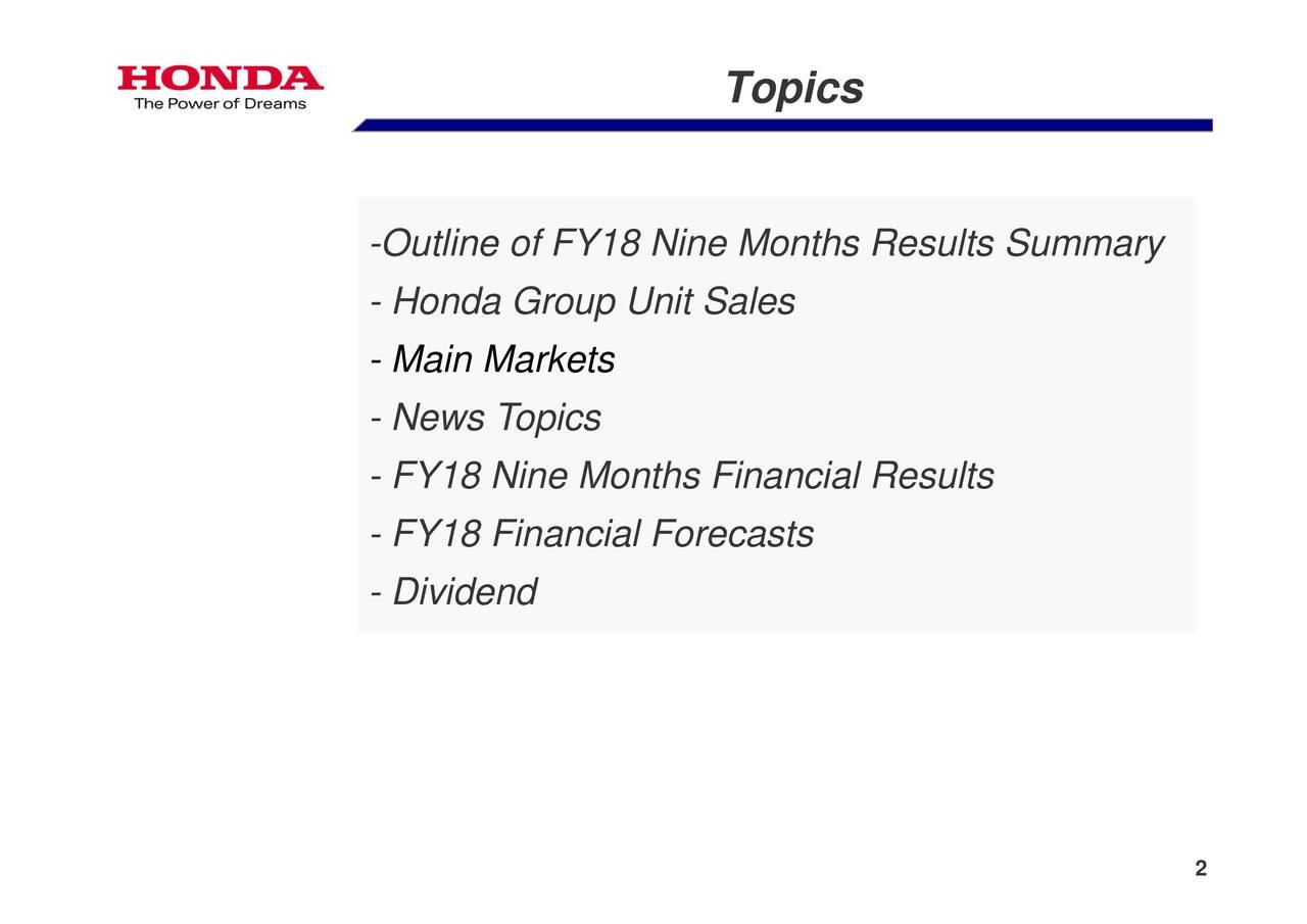 Honda Motor Co Ltd 2018 Q3