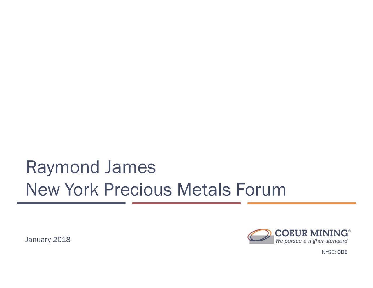Coeur Mining (CDE) Presents At Precious Metals Forum
