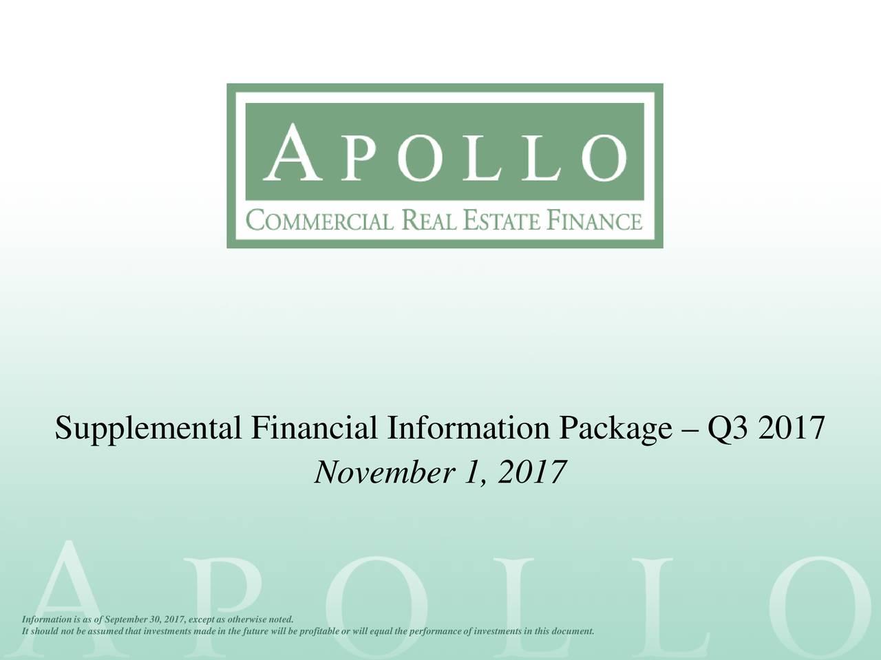 Real Estate Finance : Apollo commercial real estate finance inc q