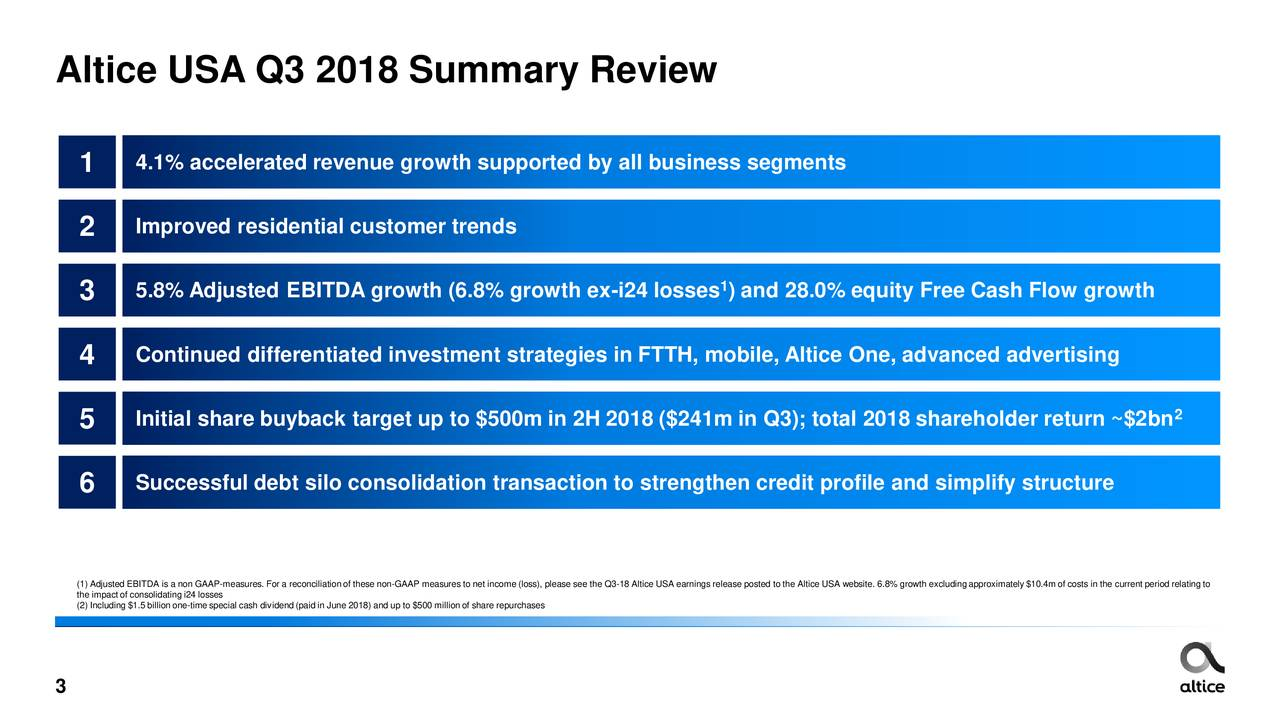 Altice USA 2018 Q3 - Results - Earnings Call Slides - Altice