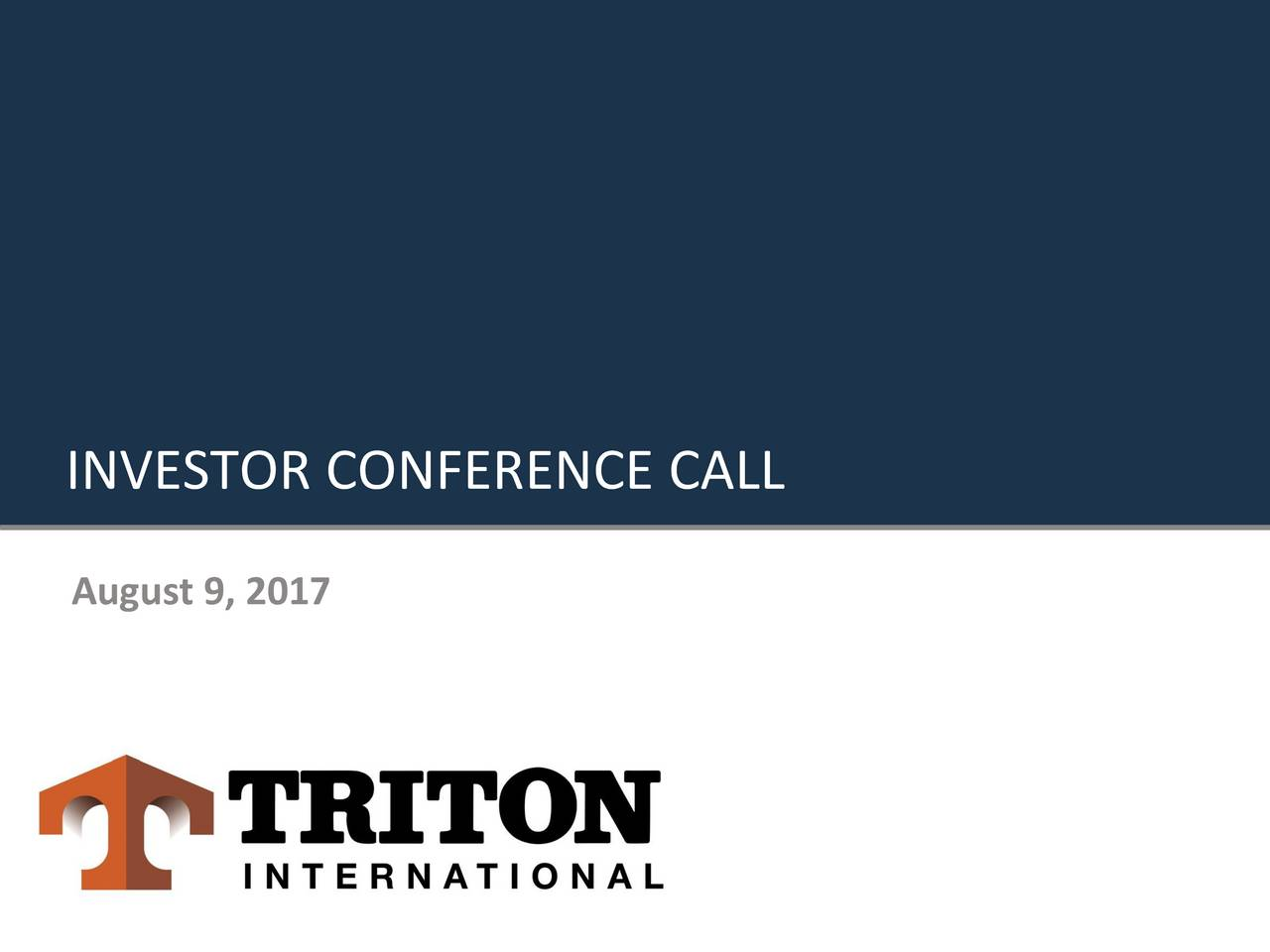 Investor Conference Call