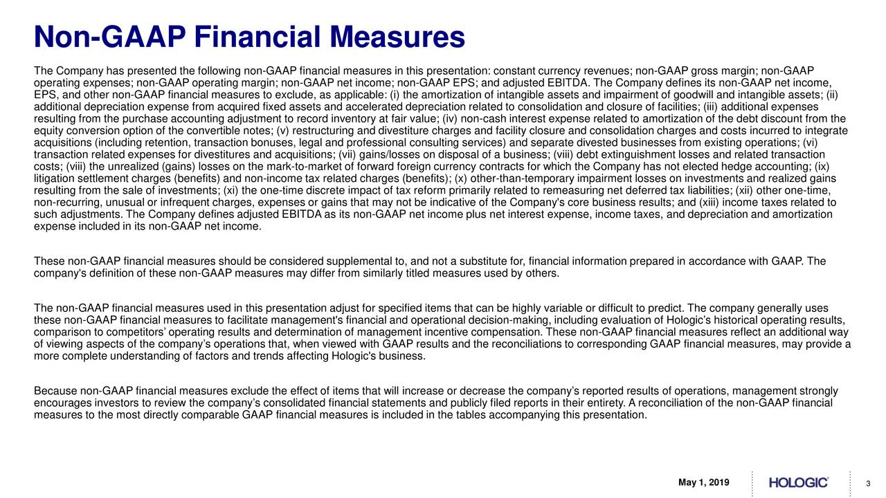 The Company has presented the following non-GAAP financial measures in this presentation: constant currency revenues; non-GAAP gross margin; non-GAAP operating expenses; non-GAAP operating margin; non-GAAP net income; non-GAAP EPS; and adjusted EBITDA. The Company defines its non-GAAP net income, EPS, and other non-GAAP financial measures to exclude, as applicable: (i) the amortization of intangible assets and impairment of goodwill and intangible assets; (ii) additional depreciation expense from acquired fixed assets and accelerated depreciation related to consolidation and closure of facilities; (iii) additional expenses resulting from the purchase accounting adjustment to record inventory at fair value; (iv) non-cash interest expense related to amortization of the debt discount from the equity conversion option of the convertible notes; (v) restructuring and divestiture charges and facility closure and consolidation charges and costs incurred to integrate acquisitions (including retention, transaction bonuses, legal and professional consulting services) and separate divested businesses from existing operations; (vi) transaction related expenses for divestitures and acquisitions; (vii) gains/losses on disposal of a business; (viii) debt extinguishment losses and related transaction costs; (viii) the unrealized (gains) losses on the mark-to-market of forward foreign currency contracts for which the Company has not elected hedge accounting; (ix) litigation settlement charges (benefits) and non-income tax related charges (benefits); (x) other-than-temporary impairment losses on investments and realized gains resulting from the sale of investments; (xi) the one-time discrete impact of tax reform primarily related to remeasuring net deferred tax liabilities; (xii) other one-time, non-recurring, unusual or infrequent charges, expenses or gains that may not be indicative of the Company's core business results; and (xiii) income taxes related to such adjustments. The Comp