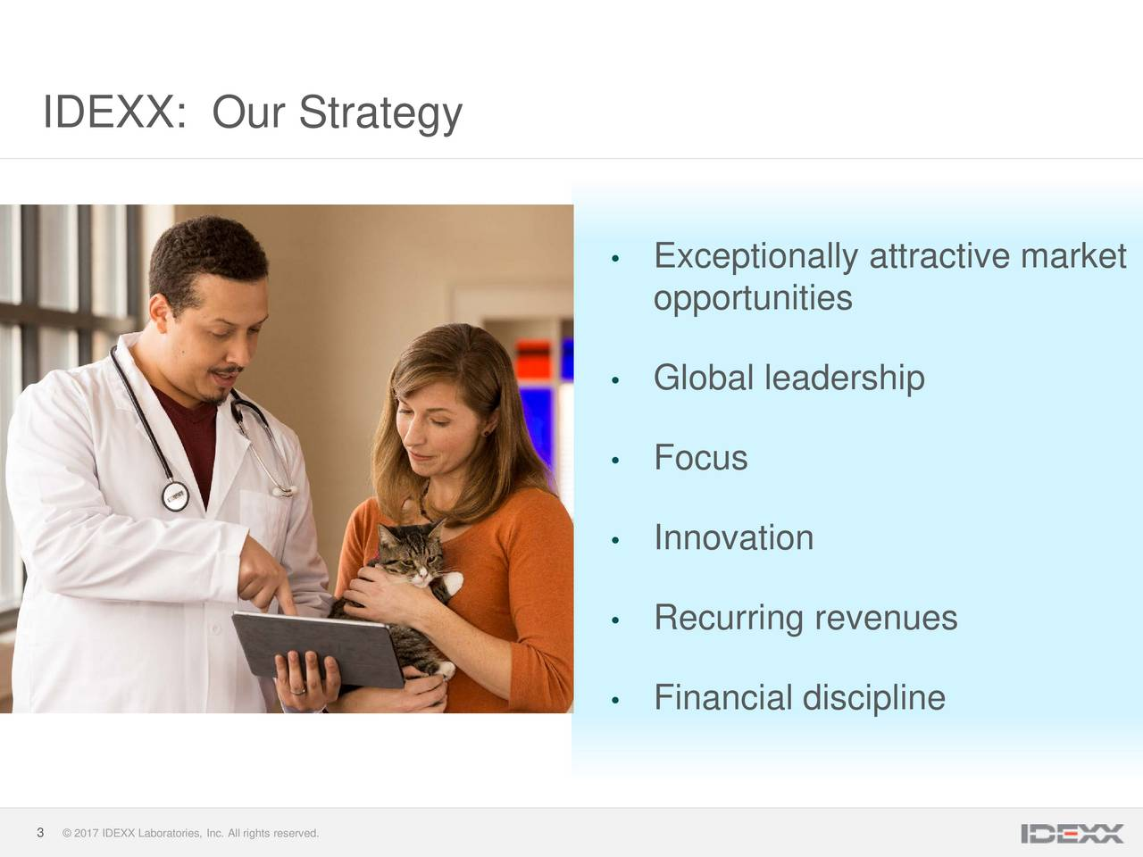 Exceptionally attractive market opportunities Global leadership Focus Innovation Recurring revenues Financial discipline 3  2017 IDEXX Laboratories, Inc. All rights reserved.